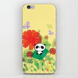panda and flowers iPhone Skin