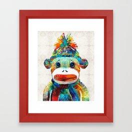 Sock Monkey Art - Your New Best Friend - By Sharon Cummings Framed Art Print