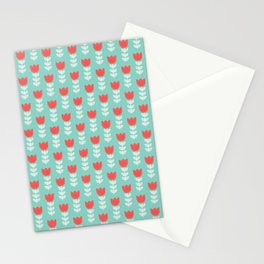 Red white vintage green hand painted tulips Stationery Cards