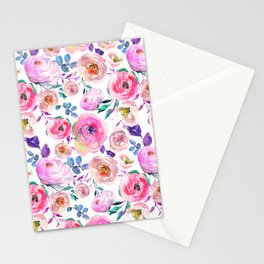 Lilac pink lavender hand painted watercolor roses floral Stationery Cards
