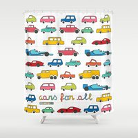 f1 Shower Curtains featuring Cars for all by Magnetic Boys