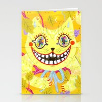 cheshire cat Stationery Cards featuring Cheshire Cat by Janna Morton