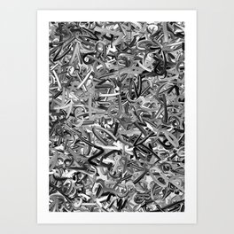 Randomised Alphabet Letters Black and White Art Print