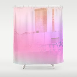 Concrete Flowers and Graffiti Shower Curtain
