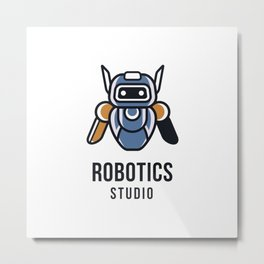 Robotics Studio Logo Template Metal Print