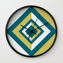 Tropical Dark Teal Inspired by Sherwin Williams 2020 Trending Color Oceanside SW6496 Dark Yellow and Off White Geometric Shapes Diamond Minimal Illustration Wall Clock
