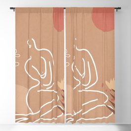 Woman in Nature Illustration Blackout Curtain
