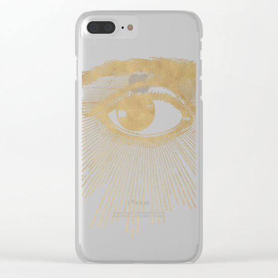 I See You. Vintage Gold Antique Paper Clear iPhone Case