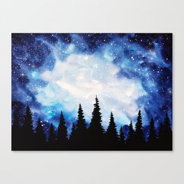 Watercolor Starry Galaxy Forest Painting Canvas Print