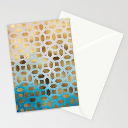 Exotic Gold Moroccan Geometric Pattern on Blue Background Stationery Cards
