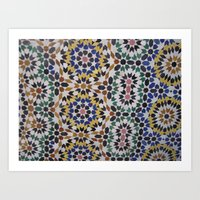 morrocan Art Prints featuring Morrocan Tile by Tyler Frees