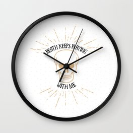 death keeps playing – white Wall Clock