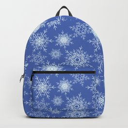 Christmas pattern with snowflakes on blue. Backpack