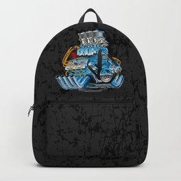Classic Muscle Car Hot Rod Chrome Racing Engine Cartoon Backpack
