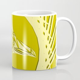 Bright abstract peach bird on a lemon background in the nest. Coffee Mug