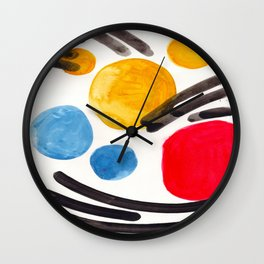 Mid Century Modern Abstract Juvenile childrens Fun Art Primary Colors Watercolor Minimalist Pop Art Wall Clock