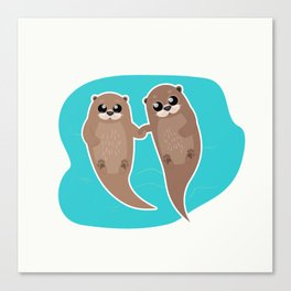 Cute Otters - Cuddle Party Canvas Print