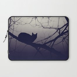 Mistery cat perching on tree in misty night Laptop Sleeve