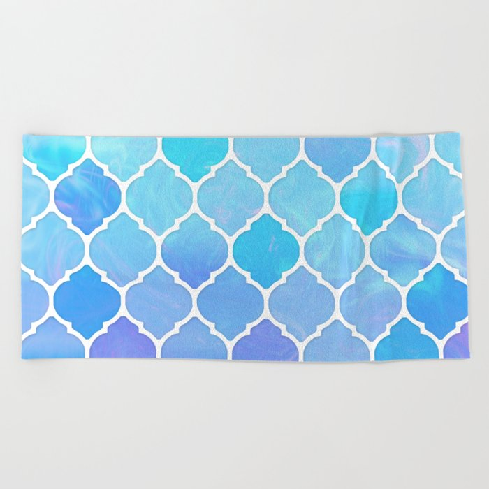 Blue and purple glass Moroccan print Beach Towel