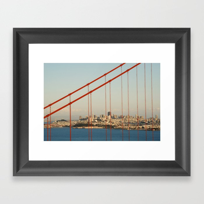 Golden San Gate Francisco Bridge Framed Art Print