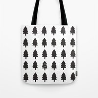 christmas tree Tote Bags featuring Christmas Tree by uzualsunday