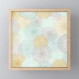 Floral Mandala Blooms Fall, Yellow, Aqua,Gray Framed Mini Art Print