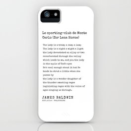 For Lena  Horne |James Baldwin Poems| 200808 Print Poster Black Writers Motivational Quotes For Life iPhone Case