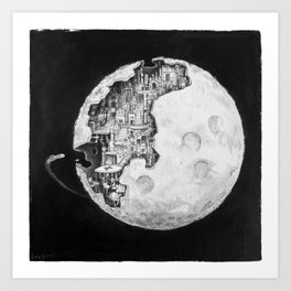 Party in the Moon Art Print