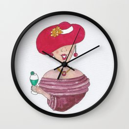 Lady in Red Hat Celebration Wall Clock