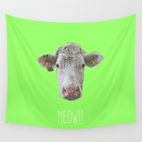 cow Wall Tapestries featuring COW by Laura Maria Designs