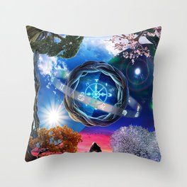 X . The Wheel Tarot Card Illustration Throw Pillow