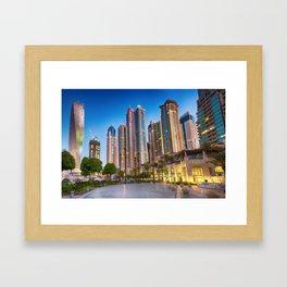 Lights, steel and glass Framed Art Print