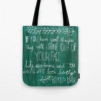 roald dahl Tote Bags featuring Good Thoughts by rags