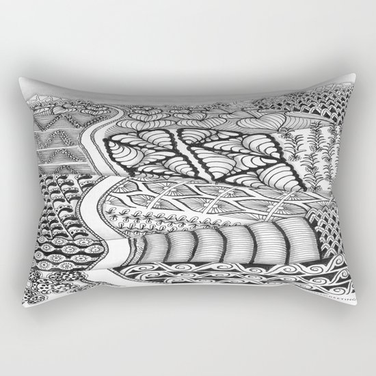 Zentangle Fields of Dream Black and White Adult Coloring Illustration Rectangular Pillow