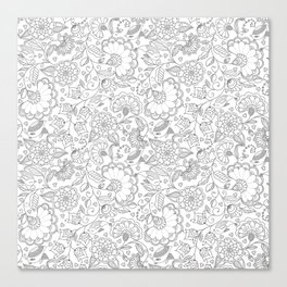 Fly EYES - Patterns GRAY - flowers, floral Canvas Print