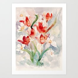Tulips and Narcissi for Easter Art Print