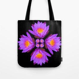 Purple Lily Flower - On Black Tote Bag