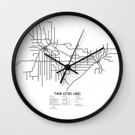 Twin Cities Lines Map Wall Clock