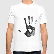 Hand Print Mens Fitted Tee MEDIUM White