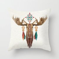 moose Throw Pillows featuring moose by Manoou
