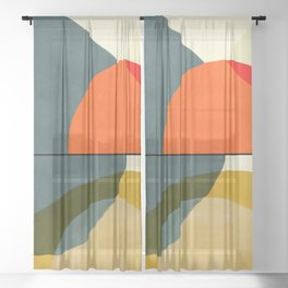 mid century geometric modern painting abstract II Sheer Curtain