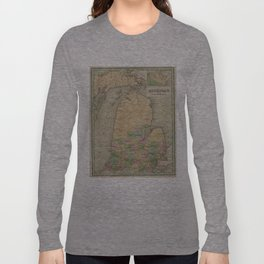 Vintage Map of Michigan (1838) Long Sleeve T-shirt