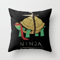 ninja turtle Throw Pillows featuring ninja - red by Louis Roskosch