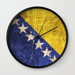 Vintage Aged and Scratched Bosnian Flag Wall Clock
