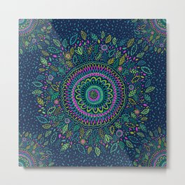 Midnight Garden Mandala Metal Print