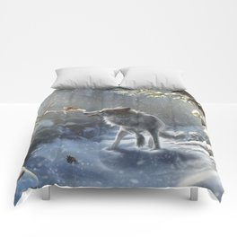 Friends: Wolf & Squirrel in Winter Comforters