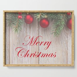 Merry Christmas Garland, Berries & Ornaments on Weathered Wood Serving Tray