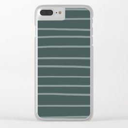Scarborough Green PPG1145-5 Hand Drawn Horizontal Stripes on Night Watch PPG1145-7 Clear iPhone Case