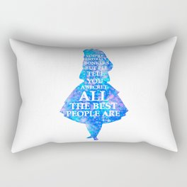 Alice In Wonderland Have I Gone Bonkers Quote - blue pink Rectangular Pillow