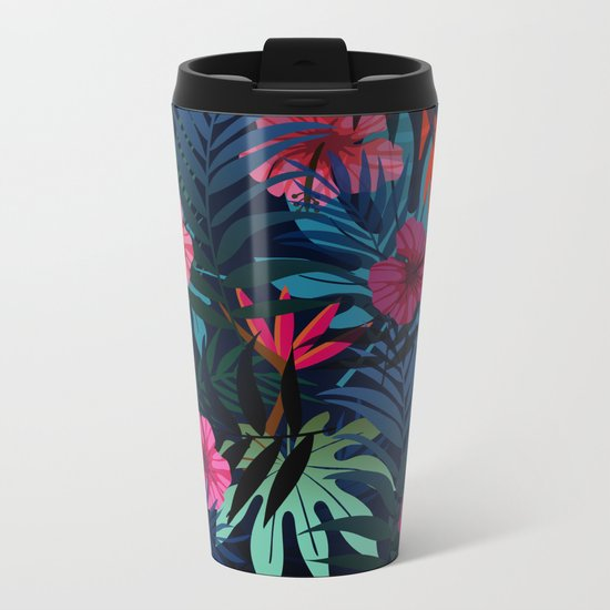 Blue tropical flowers Metal Travel Mug